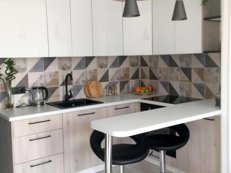 Вместительная кухня в квартиру-студию