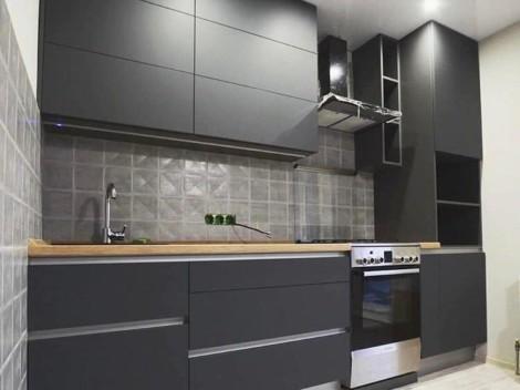 Кухня в цвете графит 1